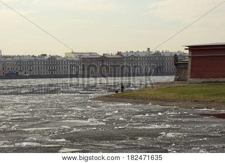 Ice drift on the Neva river in St. Petersburg