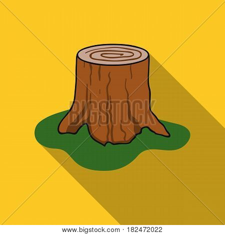Tree stump icon in flat style isolated on white background. Sawmill and timber symbol stock vector illustration.