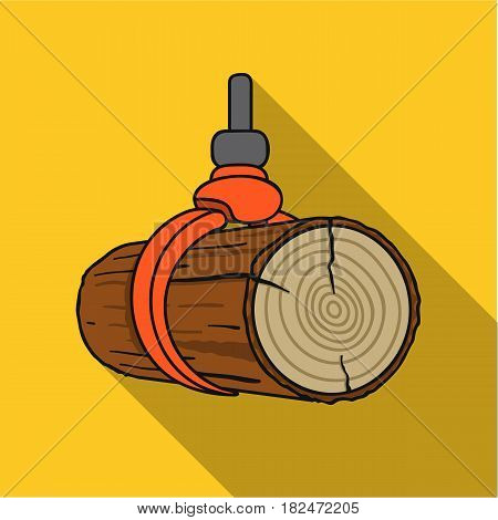 Hydraulic crane icon in flat style isolated on white background. Sawmill and timber symbol vector illustration.