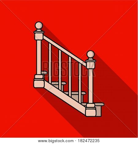 Stairs icon in flat style isolated on white background. Sawmill and timber symbol vector illustration.