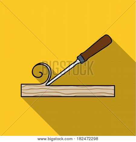 Chisel icon in flat style isolated on white background. Sawmill and timber symbol vector illustration.