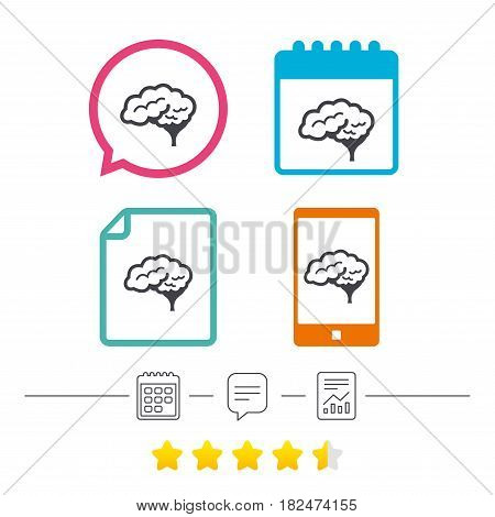 Brain with cerebellum sign icon. Human intelligent smart mind. Calendar, chat speech bubble and report linear icons. Star vote ranking. Vector