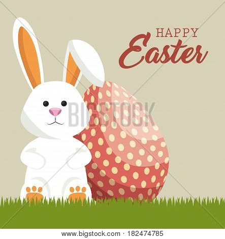 cute rabbit happy easter vector illustration design