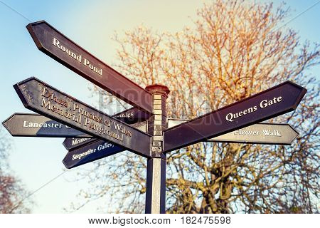 Road Signs In The Center Of London Showing Famous Places