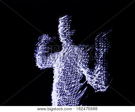 3D human figure in polygonal mesh (3D grid). Computer simulation. Body scanning. Human body model.