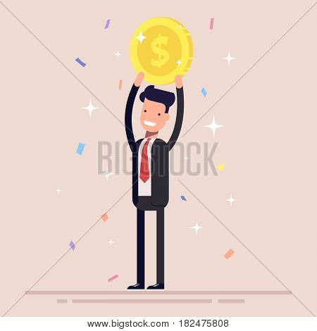 Businessman or manager holds a gold coin over his head. Man in the business suit won the prize. Confetti and tinsel. Flat character isolated on background
