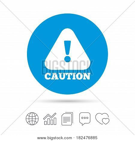 Attention caution sign icon. Exclamation mark. Hazard warning symbol. Copy files, chat speech bubble and chart web icons. Vector