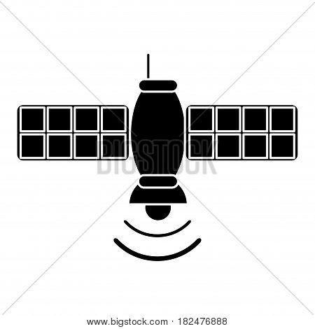 silhouette satellite telecommunication transmitter signal world vector illustration eps 10