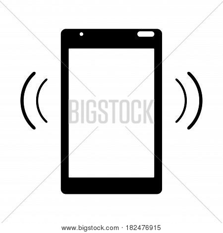 silhouette mobile phone device connection transmission vector illustration eps 10