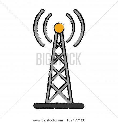 drawing radio antenna transmission mast communication vector illustration
