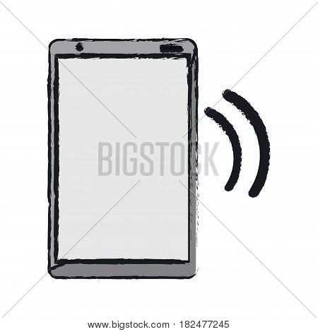 drawing mobile phone device connection transmission vector illustration eps 10