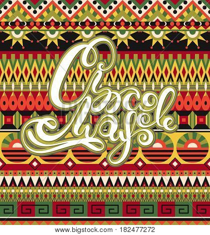Cinco de Mayo. Mexican National Holiday. Background with lettering. Fiesta in Mexiko. Festival in May. Can be used as card postcard poster banner or invitation. Vector illustration eps10