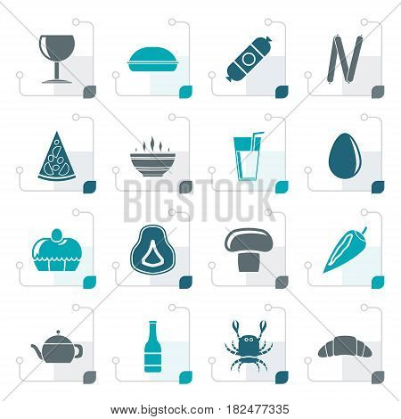 Stylized shop, food and drink icons - vector icon set 2