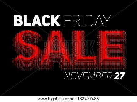Vector Black Friday Sale background with halftone colored text. Colored dots forms embossed text with shadow and illusion of volume.