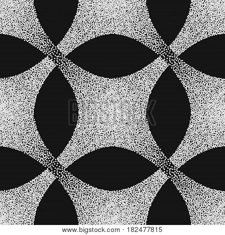 Vector abstract dotted geometric pattern element. Based on ethnic ornaments. Stipple technique. Pointillism.
