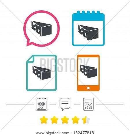 Cheese sign icon. Slice of cheese symbol. Triangle cheese with holes. Calendar, chat speech bubble and report linear icons. Star vote ranking. Vector