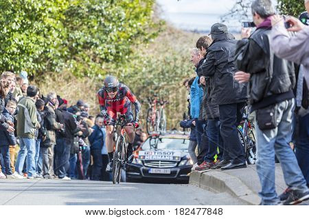 Conflans-Sainte-HonorineFrance-March 62016: The Belgian cyclist Ben Hermans of BMC Racing Team riding during the prologue stage of Paris-Nice 2016.