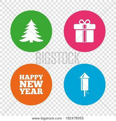 Happy new year icon. Christmas tree and gift box signs. Fireworks rocket symbol. Round buttons on transparent background. Vector