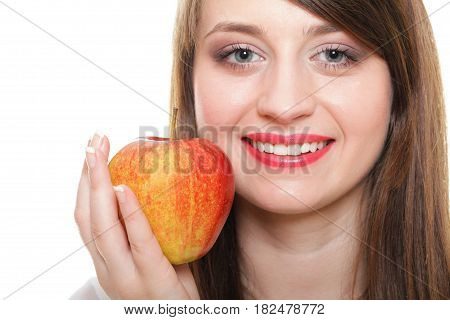 Young smiling woman with fruits Over white background