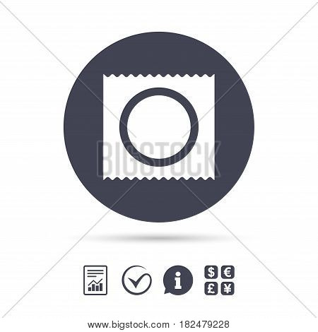 Condom in package safe sex sign icon. Safe love symbol. Report document, information and check tick icons. Currency exchange. Vector