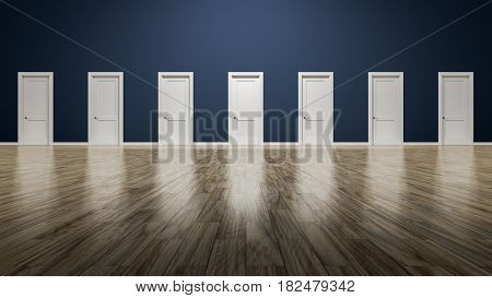 3d rendering of a room with seven doors to choose