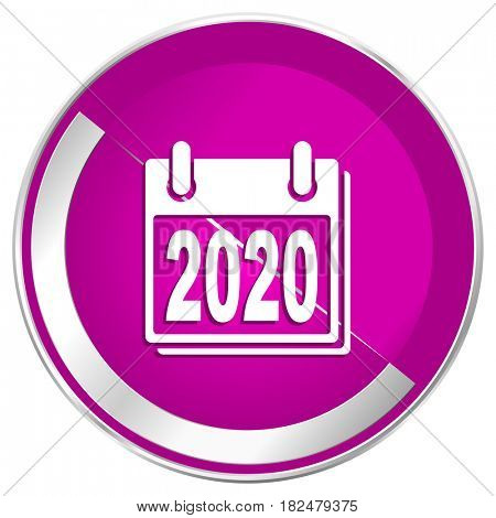 New year 2020 web design violet silver metallic border internet icon.
