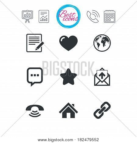 Presentation, report and calendar signs. Mail, contact icons. Favorite, like and internet signs. E-mail, chat message and phone call symbols. Classic simple flat web icons. Vector