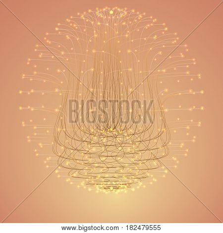 Abstract vector cyber flower. Sphere of bioluminescent tentacles with glowing tips. Futuristic space organism or plant. Colony of unknown organisms. Elegant background for your designs. Eps10