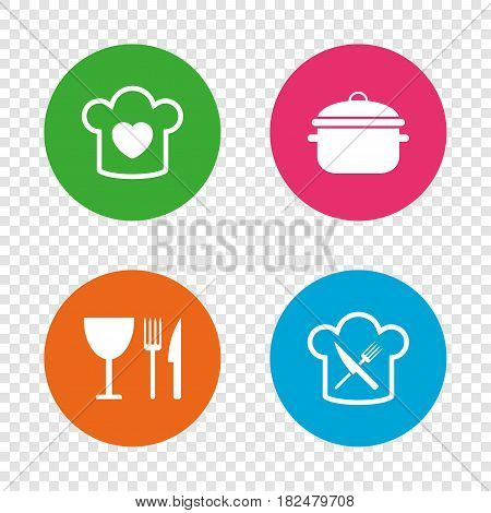 Chief hat with heart and cooking pan icons. Crosswise fork and knife signs. Boil or stew food symbol. Round buttons on transparent background. Vector
