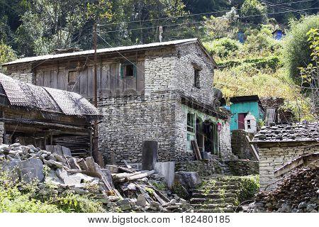 Traditional stone home of Manang village. Annapurna area Himalaya Nepal. Eco travel