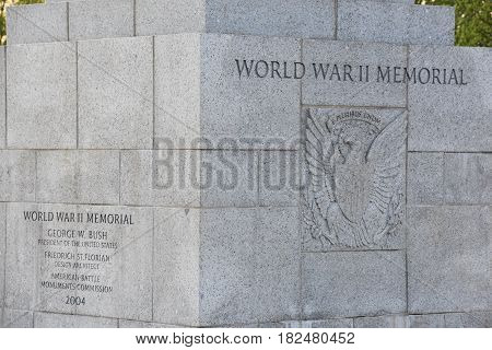 WASHINGTON, DC - APR 15: National World War II Memorial in Washington, DC, as seen on April 15, 2017. It is a memorial of national significance dedicated to Americans who served in the armed forces and as civilians during World War II.