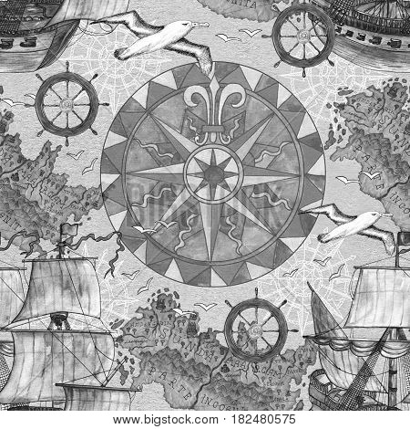 Seamless background with desaturated marine elements like old ships, compass and gulls. Old transportation concept, vintage illustration with watercolor elements. Graphic doodle drawings