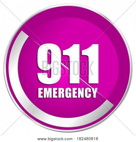 Number emergency 911 web design violet silver metallic border internet icon.