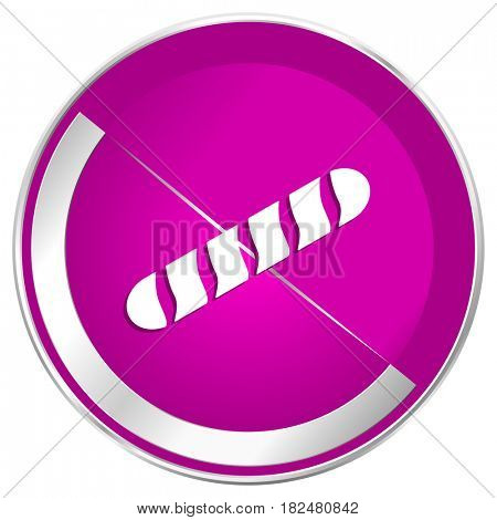 Baguette web design violet silver metallic border internet icon.