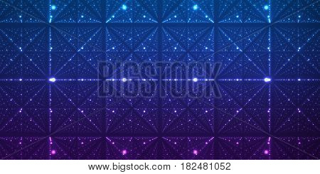 Vector infinite space background. Matrix of glowing stars with illusion of depth and perspective. Geometric backdrop with point array as lattice nodes. Abstract futuristic universe on dark background.