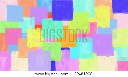 hand draw colorfull squares background copy space for text illustration watercolor style