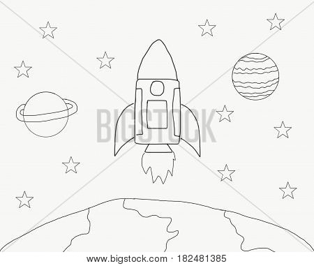 Abstract hand draw doodle line rocket in space world with star illustration for children book watercolor paint style digital art cartoon style black and white style space exploration concept