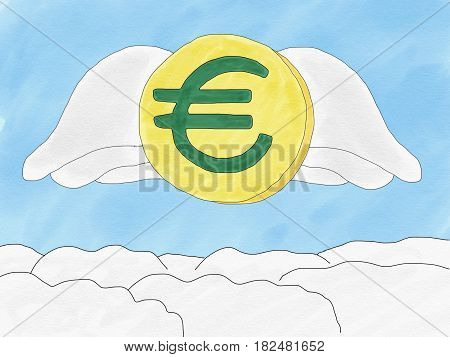 Abstract hand draw doodle euro coin with wings on sky background weak of euro currency concept illustration copy space for text watercolor paint style children cartoon book style