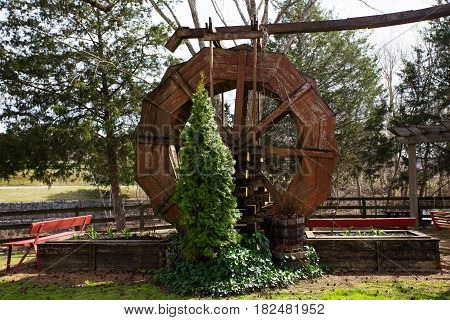 A large unused wooden paddlewheel surrounded by flower beds starting to bud and an evergreen tree in a spring landscape