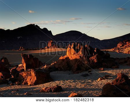 view of Teide natural park at sunrise Tenerife island, Spain