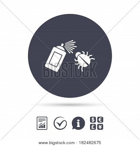 Bug disinfection sign icon. Fumigation symbol. Bug sprayer. Report document, information and check tick icons. Currency exchange. Vector