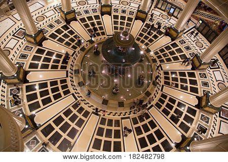 MACAU - APRIL 2: Interior of the Parisian casino on April 2, 2017 in Macau. Macau is famous for casino and luxury resorts.