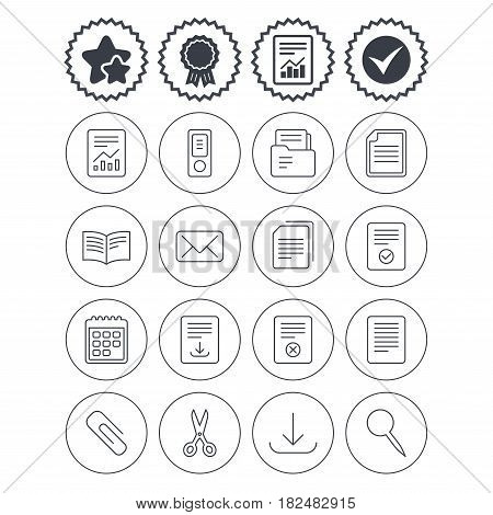 Report, check tick and award signs. Documents linear icons. Accounting, book and calendar symbols. Paper clip, scissors and download arrow thin outline signs. Mail envelope and file chart. Vector