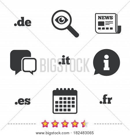 Top-level internet domain icons. De, It, Es and Fr symbols. Unique national DNS names. Newspaper, information and calendar icons. Investigate magnifier, chat symbol. Vector