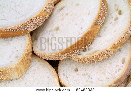 Wheat bread slices close up image .