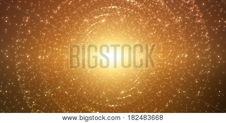 Vector infinite space background. Matrix of glowing stars with illusion of depth and perspective. Sparkling stars of nebula. Abstract futuristic hyperspace universe on dark gold background.
