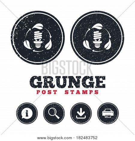 Grunge post stamps. Fluorescent lamp bulb with leaves sign icon. Energy saving. Economy symbol. Information, download and printer signs. Aged texture web buttons. Vector