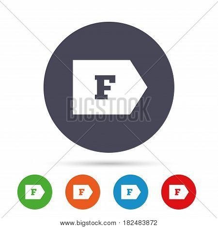 Energy efficiency class F sign icon. Energy consumption symbol. Round colourful buttons with flat icons. Vector