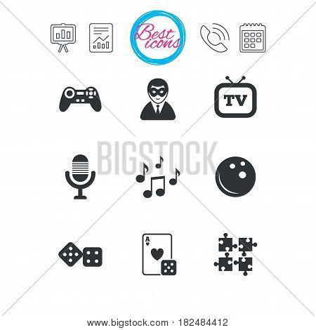 Presentation, report and calendar signs. Entertainment icons. Game, bowling and puzzle signs. Casino, carnival and musical note symbols. Classic simple flat web icons. Vector