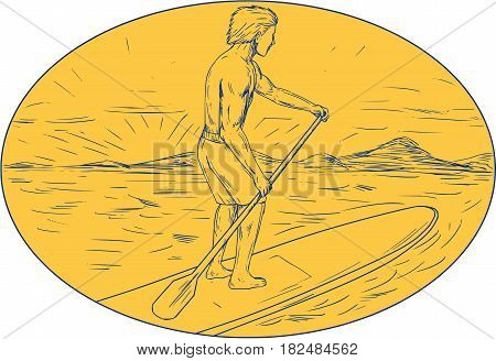 Drawing sketch style illustration of a dude on a stand up paddle board holding paddling oar with island and sunset in the background done set inside oval shape.